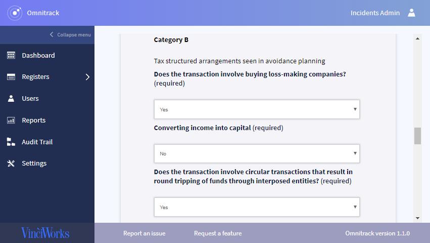 Screenshot of DAC6 reporting portal
