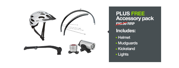 Plus FREE Accessory pack. £99.99 RRP. Includes: Helmet, mudguards, kickstand, lights.