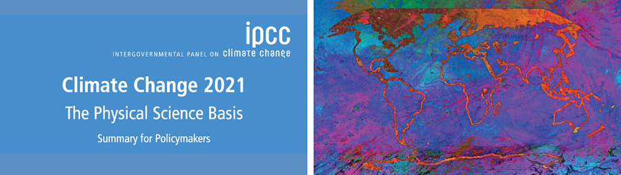 Picture of IPCC report cover with stylized picture of the earth