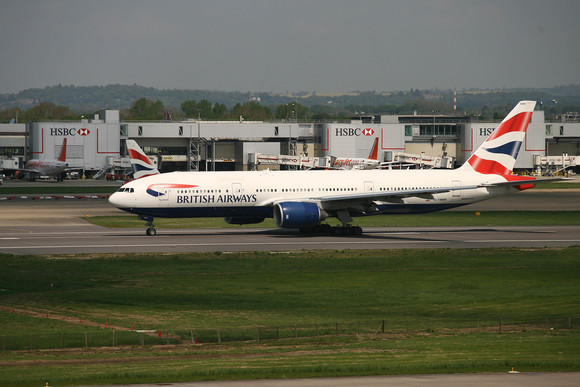 A 777 aircraft on the runway at Gatwick Airport