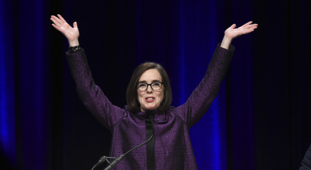 Oregon Gov. Kate Brown. Oregon is the first state to elect an openly LGBT governor.