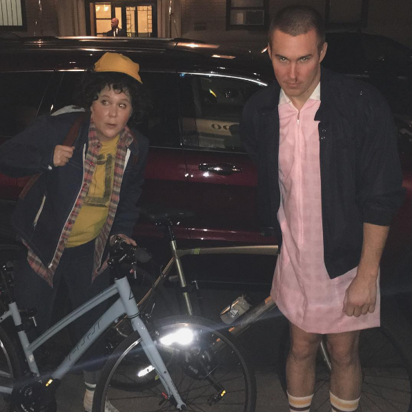 Amy Schumer as Dustin and her boyfriend as Eleven from Stranger Things.