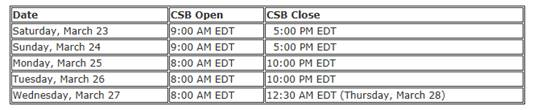 "USAC's Client Service Bureau (""CSB"") extended hours"